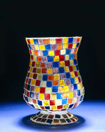 home accents: Glass vase with colorful squares Stock Photo