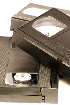 vhs videotape: Three VHS tapes on a white background Stock Photo