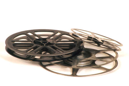 withe background:  Empty movie reels on a withe background Stock Photo
