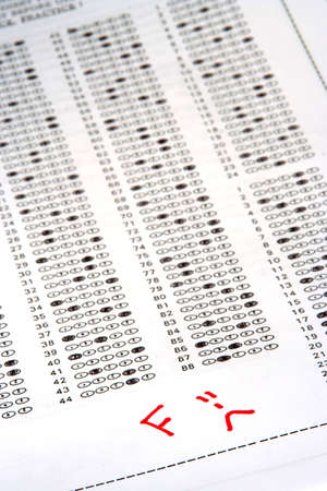 Exam answer sheet with an F grade photo