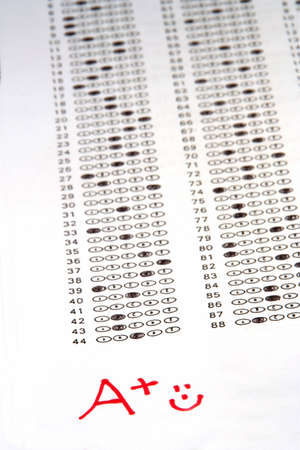 A plus at the bottom of a test sheet