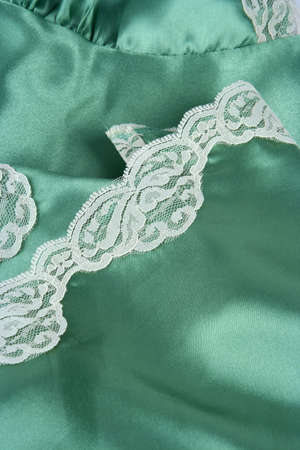 Green satin with lace trim