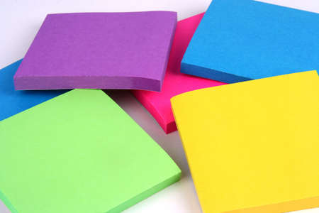 Colorful sticky notes on a white background