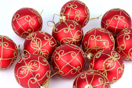Red Christmas balls on a white background photo