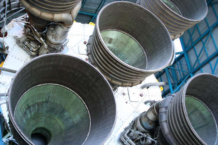 explosion engine: Closeup of thrusters on rocket