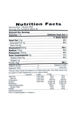 Label stating nutrition facts of food item