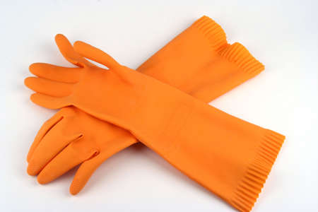 clean hands: Rubber cleaning gloves on a white background Stock Photo