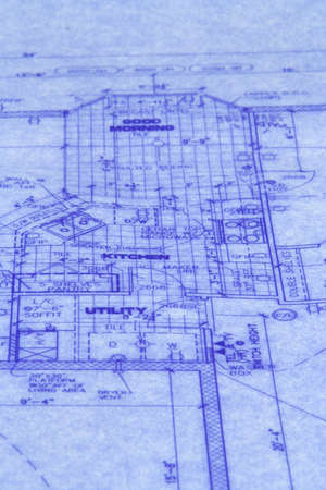 devise: Close up of  a blue print of house