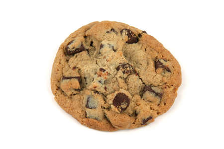 One chocolate chip cookie on a whiter background
