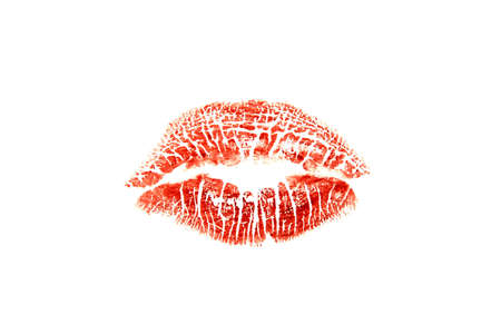 Red lipstick kiss print on a white background