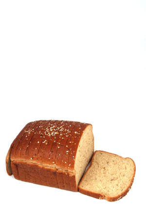 Loaf of sliced bread on a white background