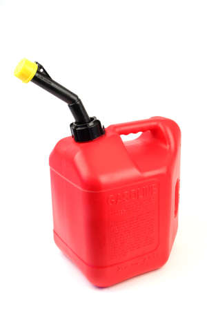 gas can: Red gas can against a white background