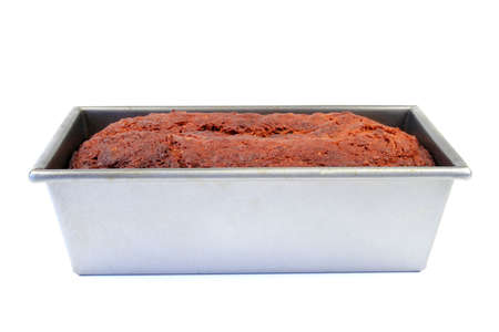 Side view of bread in a pan isolated on white Stock Photo - 728252