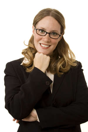 Happy businesswoman isolated on a white background photo