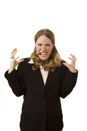 Businesswoman on white looking very stressed out Stock Photo - 1018515