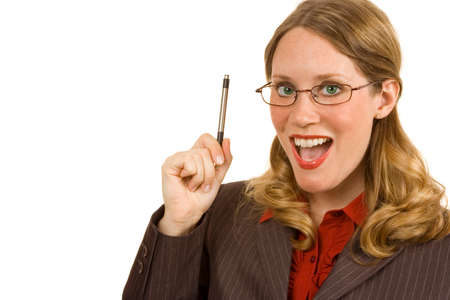 illuminati: Imprenditrice illuminata su bianco in possesso di un penna