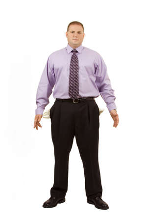 Businessman on white with pockets sticking out photo