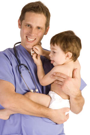 Male pediatrician holding a baby boy on white.