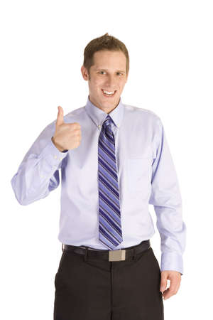Young businessman giving a thumbs up isolated on white.