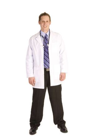 Young male doctor on a white background holding stethoscope. Stock Photo - 4497141