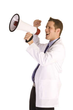 young male doctor: Young male doctor on a white background shouting into a megaphone