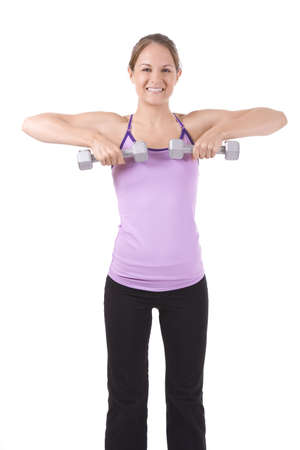curls: Woman on white background holding silver dumbbells.