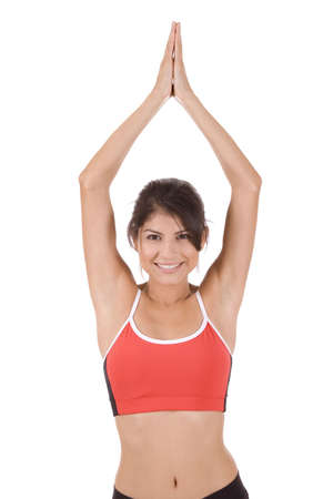 Young woman on white background in a fitness pose Stock Photo - 5178289