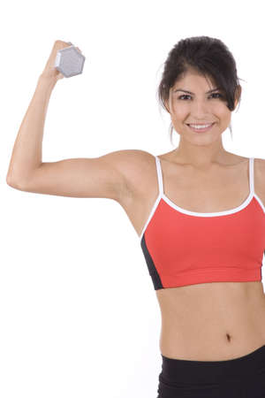 Woman on white holding silver dumbbells doing curls.  photo