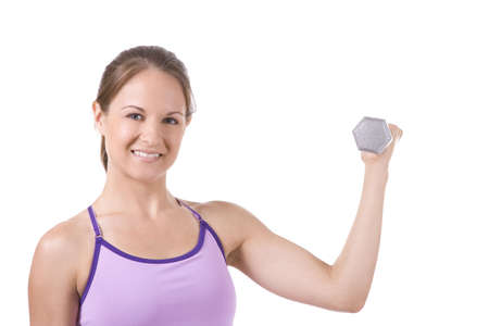 Woman on white background holding silver dumbbells . photo