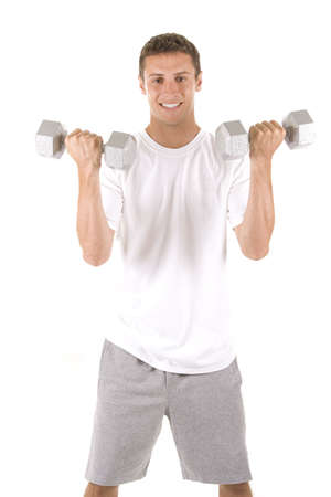 Man on white in a fitness pose.