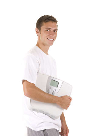 Man on white background holding a scale photo