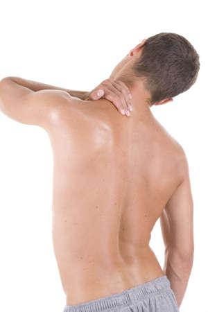 Man holding body like he is sore.