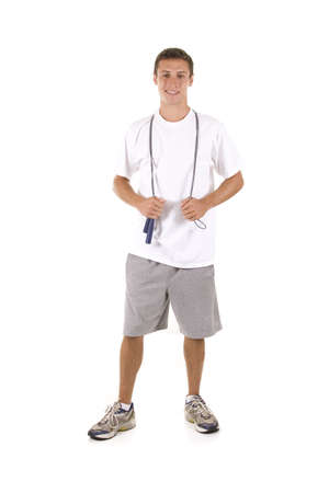 Man on white holding a jump rope. Stock Photo - 5558598
