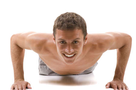 Man on a white background in a fitness pose.
