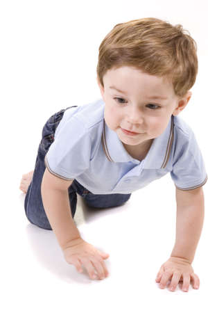 Baby in jeans on a white background 版權商用圖片