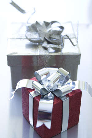 Beautiful Christmas gifts on a silver background Stock Photo - 5976144