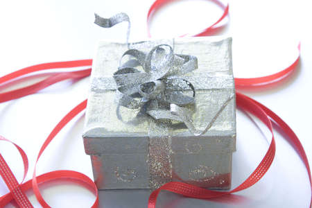 Beautiful Christmas gifts on a silver background Banque d'images - 6053839