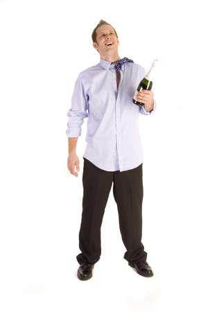 Drunk businessman holding bottle on a white background. photo