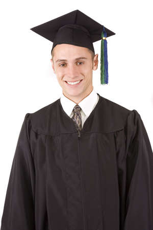 Young male graduate in cap and gown photo