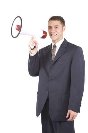 Young attractive businessman shouting into a megaphone Stock Photo - 6189254