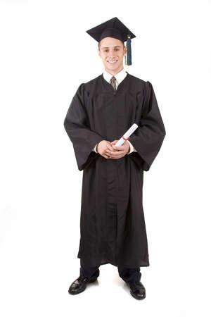 absolwent: Młodych samców Absolwent w pokrywie i gown Zdjęcie Seryjne