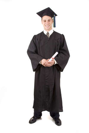 cap and gown: Young male graduate in cap and gown