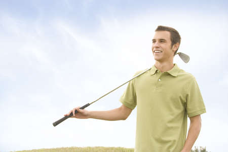 People against blue sky with golf clubs Banco de Imagens - 6226514