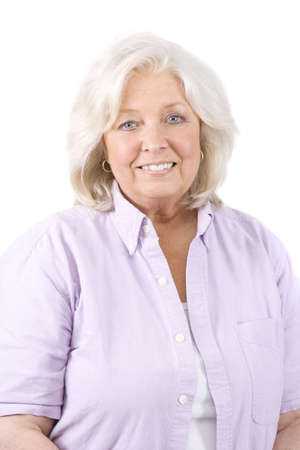 aging woman: Beautiful mature woman on a white background Stock Photo