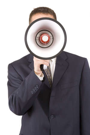 Young attractive businessman shouting into a megaphone. Stock Photo - 6226474