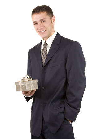 Businessman on white holding a gift photo