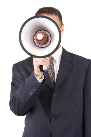 Young attractive businessman shouting into a megaphone. Stock Photo - 6249998