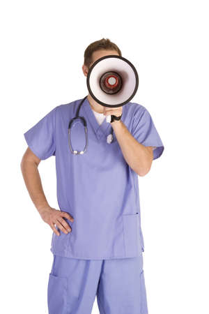 Young male doctor on a white background shouting into a megaphone photo