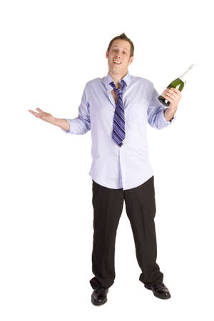 Drunk businessman holding bottle on a white background. photo