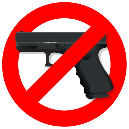 Red prohibition no gun round sign. isolated on white background. regulatory warning stop symbol. Vector illustration. Ilustración de vector